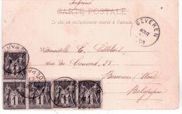 1901- C P A De Paris  - Sans Texte ( Avec Signature De L´expéditeur )  Affr. Sage N° 83 X 5  Pour La Belgique - Storia Postale