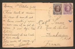 HOUYOUX Postkaart Van ANVERS LA GARE CENTRALE Met Afstempeling BEVEREN WAAS Dd. 6/10/1924 ! Inzet Aan 5 € ! - 1922-1927 Houyoux