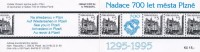 Czech Rep. / Stamps Booklet (1995) 0015 ZS 5+6 (2 Pcs.) City Plzen 700 Years (Plague Column; Town Hall; Tramway) (I0163) - Escultura