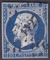 France Obl. N°   14 - Empire 20 Cts Bleu  -> Frappe 1127 Douai - 1853-1860 Napoléon III