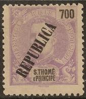 St. Thomas And Prince - 1913 KIng Carlos Overprinted REPUBLICA 700 Réis - St. Thomas & Prince
