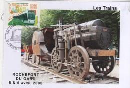 """30  ROCHEFORT DU GARD  XII° Eposition Philatélique """"Les Trains""""  5/04/08 - Trains"""