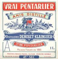 """DISTILLERIE """"DENISET-KLAINGUER"""" - Etiquette Ancienne- - Vrai PONTARLIER - Anis Distillé - à Pontarlier (Doubs) 11 X 11 - Labels"""
