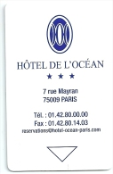 HOTEL DE L�OCEAN PARIS FRANCE   llave clef key keycard karte