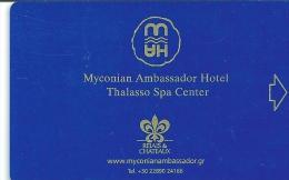 HOTEL MYCONIAN AMBASSADOR GREECE   llave clef key keycard karte