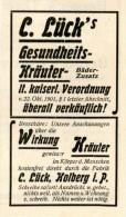 Original-Werbung/ Anzeige 1904 - GESUNDHEITS-KRÄUTER LÜCK / KOLBERG POMMERN - Ca. 45 X 70 Mm - Werbung