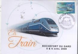 """30  ROCHEFORT DU GARD  XII° Exposition Philatélique """"Les Trains""""  5/04/08 - Trains"""
