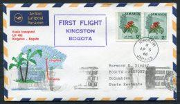 1968 Jamaica Colombia Kingston - Bogota Lufthansa First Flight Cover - Jamaica (1962-...)