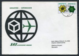 1973 Singapore - Denmark SAS First Flight Cover - Singapore (1959-...)