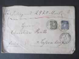 DR 1887 Nr. 44 / 42 MiF. Wertbrief Inneliegend 2970 Mark. Fünffach Gesiegelt. Preussen Nachverwendeter K2 Sassenberg - Allemagne