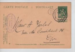 Entier CP 5 C Lion écrite De Koekelberg C.Bruxelles En 14/3/1914+c.Publicitaire Libert-Hasaerts PR2249 - Stamped Stationery