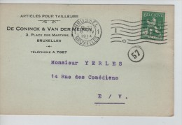 TP 110 S/CP C.méc.Bruxelles 6/4/1914 + Repiquage Publicitaire Articles Pour Tailleur De Coninck & V.D.Meiren PR2251 - Métiers
