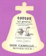 Publicité Cinéma - Carte En Forme De Cloche  Pour Le Film ** DON CAMILLO ** Avec FERNANDEL & GINO CERVI (10 X 12 Cm) TB - Advertising