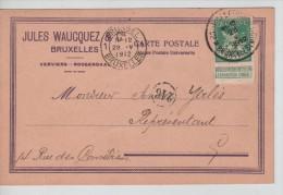 TP 110 Perforé S/CP Jules Waucquez C.méc.Bruxelles 28/5/1912 PR2254 - Perfins