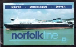 HORAIRE DE BATEAU - SHIP TIMETABLE - NORFOLK LINE - DOVER / DUNKERQUE / DOVER - Trés Rare ! - A Saisir ! - Vers 2002 - - Europe