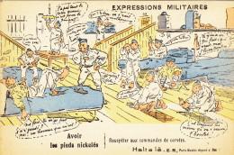 EXPRESSIONS MILITAIRES  AVOIR LES PIEDS NICKELES - Humoristiques
