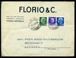 262/154  COVER BUSTA DITTA FLORIO & C. TORINO MARSALA 1935 PER LUCERNA DA MARSALA - 1900-44 Vittorio Emanuele III