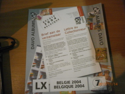 SUPPLEMENT DAVO BELGIQUE 2004 LX 7. - Albums & Reliures