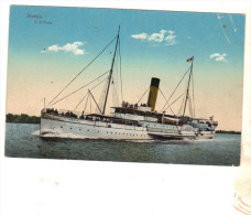 """Cpa """" S S Fria """"  Vapeur Roues à Aubes .Stettin Construit En 1885 PAQUEBOT J F Braunlich Transport Passagers Allemagne - Paquebots"""