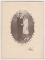 PHOTO MAISON L. LEGER PHOTOGRAPHE LIBRAIRE CHARLY SUR MARNE COUPLE DE MARIÉS - Persone Anonimi