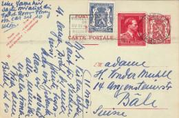 BELGIEN 1949? - 1 F Ganzsache + 2 Fach Zusatzfrankierung Auf Pk Gel.n. Bäli - Belgien