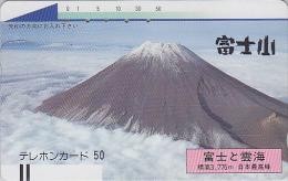 Télécarte Ancienne Japon / 110-28510 - Volcan MONT FUJI / Verso B - Mountain Vulcan Japan Front Bar Phonecard - 250 - Volcans