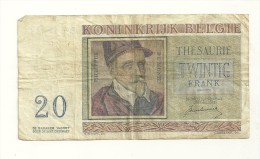Royaume De Belgique. Billet De 20 Francs - [ 2] 1831-... : Belgian Kingdom