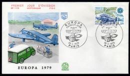 FRANKREICH 1979 - Postflugzeug, Europa CEPT - Sonderstempel FDC - Post