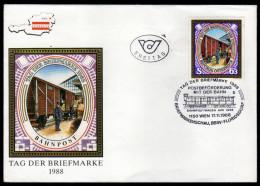 ÖSTERREICH 1988 - Postbeförderung Mit Der Bahn / Tag Der Briefmarke - Sonderstempel FDC - Post