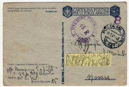 POSTA MILITARE IN FRANCHIGIA  - TIMBRO CENSURA - CARTOLINA POSTALE PER LE FORZE ARMATE - 1942 - Andere
