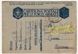 POSTA MILITARE IN FRANCHIGIA  - CARTOLINA POSTALE PER LE FORZE ARMATE - 1942 - Andere