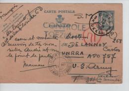Entier CP 50 C En S.M. C.Uccle 11/4/1945 Griffe Contrôle/Toezicht V.APO 757 US Army C.d'arrivée F.P.O 359 PR2259 - Guerre 40-45