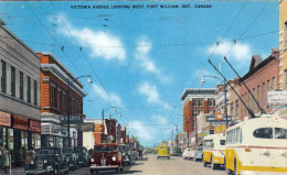 VICTORIA AVENUE LOOKING WEST, FORT WILLIAM, ONT. CANADA, Alte Autos, O-Bus, Strassenansicht, Karte Gel.1953 N. Hermsdorf - Ontario