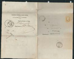 FRANCE 1865  N° 21  Obl. S/formulaire Des Postes GC 3719 Saint Léonard - 1862 Napoleon III