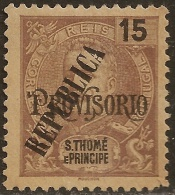 St. Thomas And Prince - 1913 KIng Carlos Overprinted REPUBLICA 50 Réis - St. Thomas & Prince