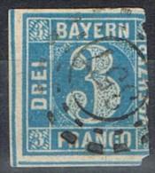 Sello 3 K Bayern, Mühlradstempel  Omr 357, OBERAMMERGAU, Num  2 º - Bavaria
