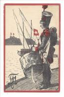 Genève Tambour Militaire Et Barque Carte Société D'étudiant - GE Genève