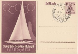 DR Ganzsache Minr.P262 SST Kiel 10.8.36 - Deutschland