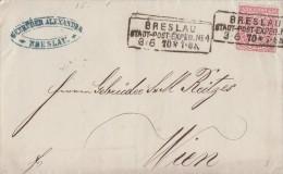 NDP Brief EF Minr.16 R3 Breslau Stadt-Post-Exped. Nr.4 3.6.70 Gel. Nach Österreich - Norddeutscher Postbezirk