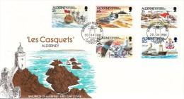1991 AUTOMATION LES CASQUETS LIGHTHOUSE LEUCHFEUER FARO SHIPS  SG A47/51 FDC - Alderney