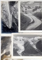 FOUR REAL PHOTOGRAPHS (7 X 5 Inches)OF VARIOUS GLACIERS - Des Bossons, Tschierva, Mont Blanc - Photos