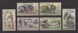 Czechoslovakia  Tschechoslowakei  1957 Gest. Mi  1013-1017, 1034 Sc 796-800, 815Sport 1957. - Gebraucht