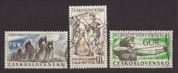Czechoslovakia  Tschechoslowakei  1957 Gest. Mi 1013, 1015, 1016 Sc 796, 799, 800 Sport 1957. - Gebraucht