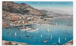 MONACO - N° 9 - LE PORT ET LES REGATES - VUE SUR MONTE CARLO - Ed. ADIA - CPA NON VOYAGEE - Puerto