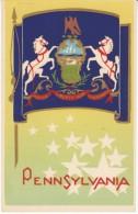 Serigraph Pennsylvania State Flag M.A. Sheehan Artwork C1930s Vintage Postcard - United States