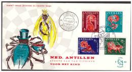 Antillen / Antilles 1967 FDC 48 Fairy-taile Turtle Spider Monkey Tiger Logo Lion - Curaçao, Antilles Neérlandaises, Aruba