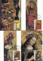 België, Maximumkaarten, Nr 2205/2208, Lam Gods, Van Eyck (6729) - Kunst