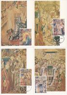 België, Maximumkaarten, Nr 1932/1935, Tapijt, Tapisserie (6759) - Textile