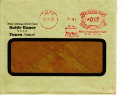 Deutsches Reich, Kristall Tricotwäsche, Mech. Trikotagenfabrik, Guido Unger, Taura, 1932 (5929) - Textile