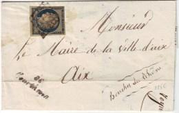 Cursive 86 COURTHEZON Vaucluse Sur Lettre Avec Ceres N° 4 Obl GRILLE 26 Novembre 1850 , RARE Ind 20 = 450 Euro - Marcophilie (Lettres)